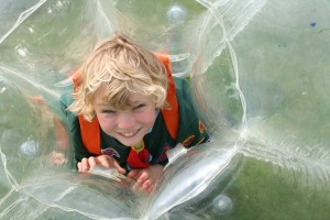 A cub enjoying the BodyZorbs, just one of the activities on offer